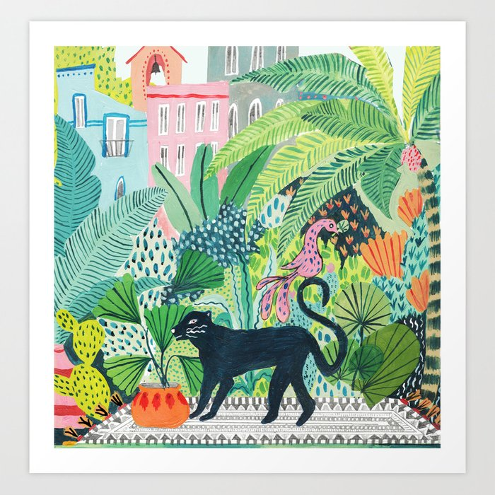 jungle panther art print by amberstextiles society6. Black Bedroom Furniture Sets. Home Design Ideas