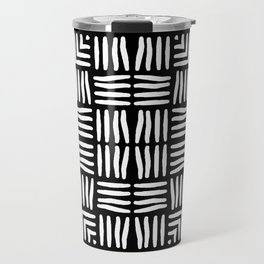 Geometric Black and White Tribal-Inspired Woven Pattern Travel Mug