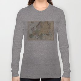 Vintage Map of Europe (1892) Long Sleeve T-shirt