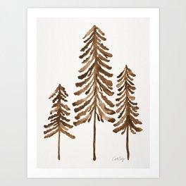 Pine Trees – Sepia Palette Art Print