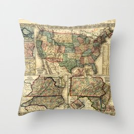 Mitchell's Military Map of the United States (1861) Throw Pillow