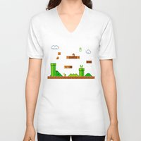 mario V-neck T-shirts featuring Mario by idaspark