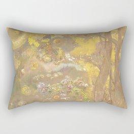 """Odilon Redon """"Trees on a yellow Background"""" Rectangular Pillow"""
