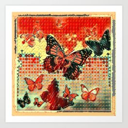 MODERN ART DESIGN of ABSTRACTED BUTTERFLIES Art Print