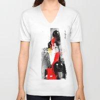 senna V-neck T-shirts featuring AYRTON SENNA MP4-4 by Michele Leonello