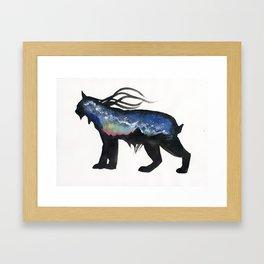 Aurora Milky Way Lynx. Framed Art Print