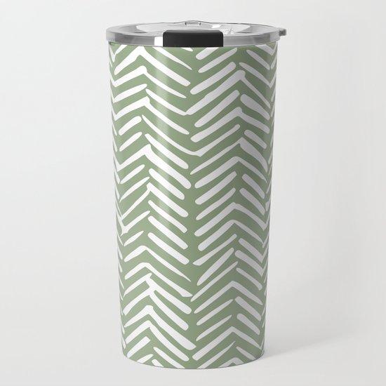 Boho Herringbone Pattern, Sage Green and White by meganmorrisart