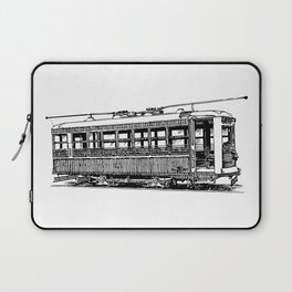 Old City Tram Detailed Illustration Laptop Sleeve