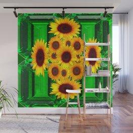 SPRING GREEN EMERALDS & YELLOW FLOWERS  ART Wall Mural