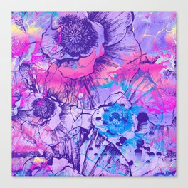 Abstract Flowers - The color of 2018, which is Ultraviolet Canvas Print