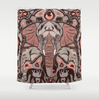 elephants Shower Curtains featuring Elephants by Darish