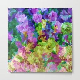 Watercolor Garden Flowers Metal Print