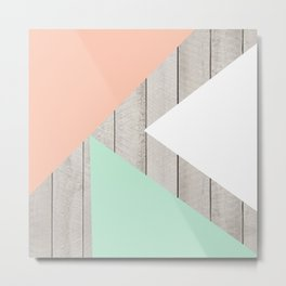 Modern Teal Peach Triangles Color Block on Wood Metal Print