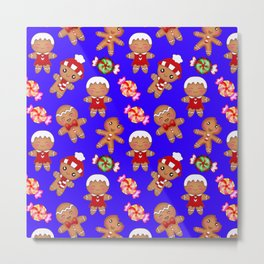 Cute decorative hygge pattern. Happy gingerbread men and sweet xmas caramel toffee candy. Xmas. Metal Print
