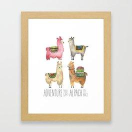 Llama Alpaca Adventure Print Funny Cute Animal Watercolor Tribal Woodland Travel Peru Baby Decor Framed Art Print
