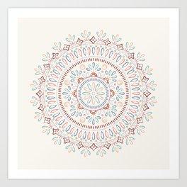 Jardin Mandala - Salmon Art Print
