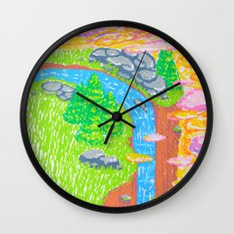 waterfall in sunset clouds Wall Clock