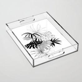 Monochrome Tropical Leaves Acrylic Tray