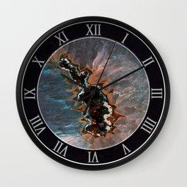 Earth treasures - Blue and orange agate Wall Clock