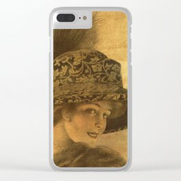 Golden victorian lady Clear iPhone Case