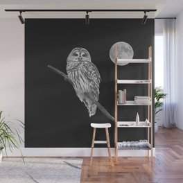 Owl, See the Moon (bw, sq) Wall Mural