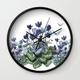 """Spring garden of blue cyclamen and butterflies"" Wall Clock"