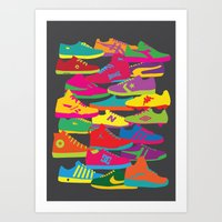 sneakers Art Prints featuring Sneakers by Glen Gould
