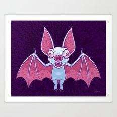 Albino Vampire Bat Art Print