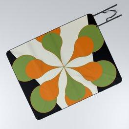 Mid-Century Modern Art 1.4 - Green & Orange Flower Picnic Blanket