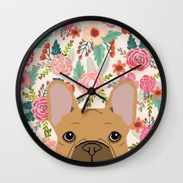 French Bulldog florals portrait dog breed custom pet portraits by pet friendly frenchie Wall Clock