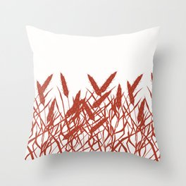 Stylized wheat ears on a white background. Throw Pillow