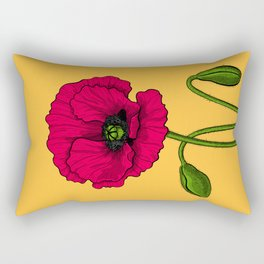 Red poppy drawing Rectangular Pillow