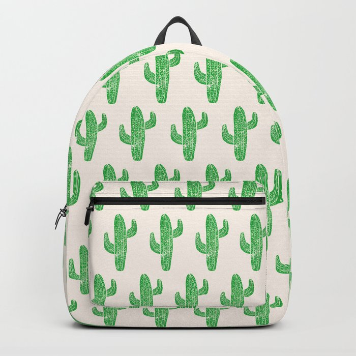Linocut Cacti Green Backpack