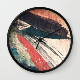 Thunder&Lightning {3}: Minimal watercolor abstract in pinks, blues, and greens Wall Clock