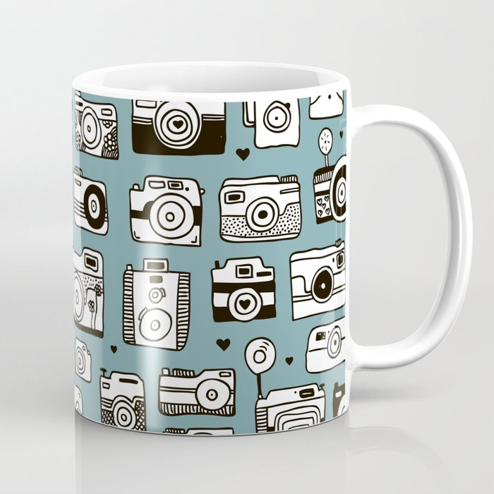 smile action toy camera vintage photography pattern coffee mug by