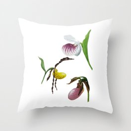 Lady Slippers of the Adirondacks Throw Pillow