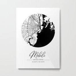 Mobile Area City Map, Mobile Circle City Maps Print, Mobile Black Water City Maps Metal Print