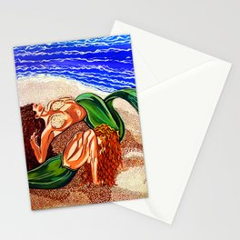 Mermaids Spent Lovers Beach Ocean Shells Sea Sand Waves Nude Women Red Head Passion Couple Stationery Cards