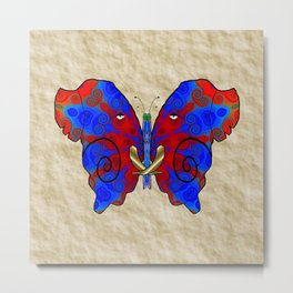 Nautilus Elephant Butterfly Metal Print