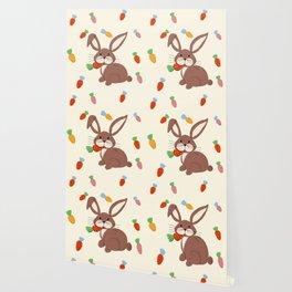 Cute Bunny and Carrots Wallpaper