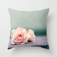 roses Throw Pillows featuring roses by Claudia Drossert