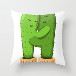 Cactus Couple Throw Pillow