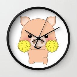 Cute funny cartoon pig - Cheerleading Wall Clock