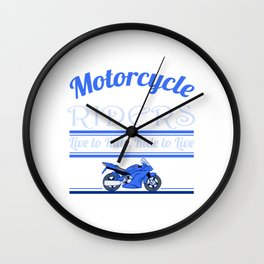 "A Cool Motocross Tee For Riders Saying ""Motorcycle Riders"" T-shirt Design Illustration Of A Bike Wall Clock"