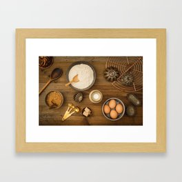 Basic baking ingredients Framed Art Print