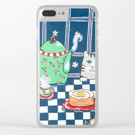 Kitty Cat Tea Time! Clear iPhone Case