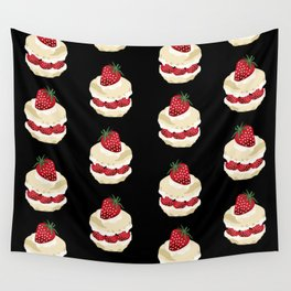 Fruit Shortcake dessert food apparel and gifts food fight black Wall Tapestry