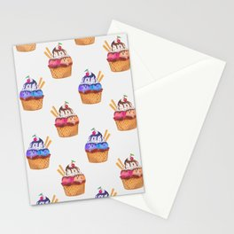 Pattern with hand painted watercolor cupcakes. Stationery Cards