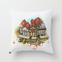 prague Throw Pillows featuring Prague by Hande Unver