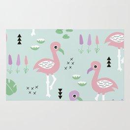 Tropical flamingo beach summer pattern Rug